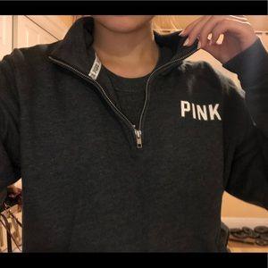 Victoria's Secret PINK Charcoal Gray Quarter Zip